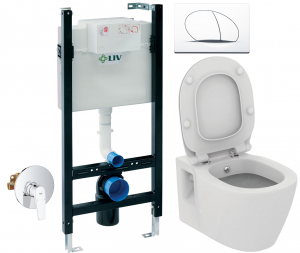 ALL IN ONE Incastrat - LIV + Grohe + Connect - Cu functie bideu - Gata de montaj - Vas wc Ideal Standard Connect cu functie bideu + Capac softclose + Rezervor LIV + Baterie incastrata Grohe0