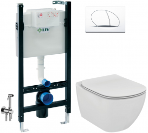 ALL IN ONE Incastrat - LIV + Ideal Standard Tesi Aquablade + Paffoni - Cu dus Igienic - Gata de montaj - Vas wc Suspendat Ideal Standard Tesi Aquablade + Capac softclose + Rezervor LIV0