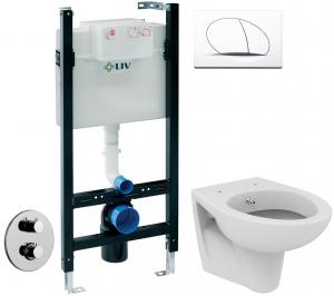 ALL IN ONE Incastrat - LIV + Paffoni cu termostat + Vas wc Suspendat Ideal Standard Eurovit - Cu functie de bideu - Gata de montaj - Vas wc Suspendat Ideal Standard Eurovit cu functie de bideu + Capac0