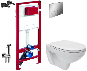 ALL IN ONE Incastrat - Schell + Cersanit Delphi - Cu dus Igienic - Gata de montaj - Vas wc Suspendat Cersanit Delphi + Capac softclose + Rezervor Schell [0]