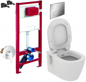 ALL IN ONE Incastrat - Schell + Grohe + Connect - Cu functie bideu - Gata de montaj - Vas wc Ideal Standard Connect cu functie bideu + Capac softclose + Rezervor Schell + Baterie incastrata Grohe0