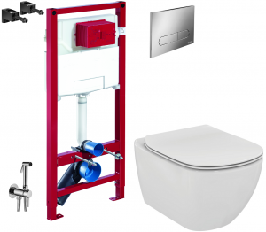 ALL IN ONE Incastrat - Schell + Ideal Standard Tesi Aquablade + Paffoni - Cu dus Igienic - Gata de montaj - Vas wc Suspendat Ideal Standard Tesi Aquablade + Capac softclose + Rezervor Schell0
