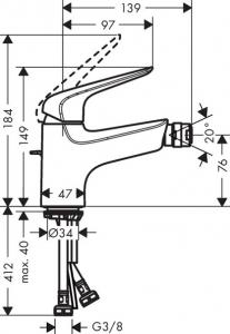 Baterie bideu Hansgrohe Novus 70 cu ventil Pop UP1