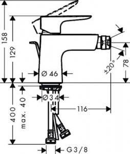 Baterie bideu Hansgrohe Talis E cu ventil Pop UP1