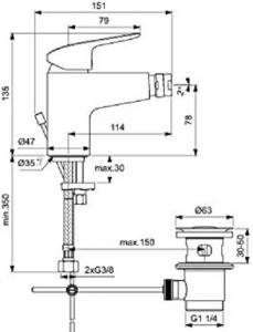 Baterie bideu Ideal Standard Ceraflex cu ventil Pop UP [2]