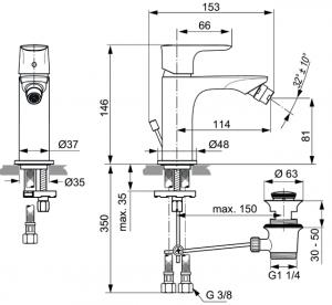 Baterie bideu Ideal Standard Connect Air cu ventil Pop UP [3]