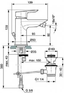 Baterie bideu Ideal Standard Tesi cu ventil Pop UP [2]