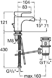 Baterie bideu Roca L20 cu ventil Pop UP [1]