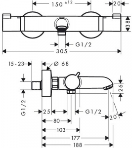 Baterie cada termostatata Hansgrohe Comfort1