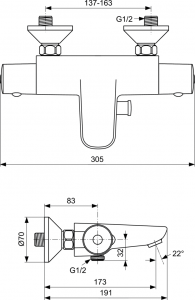 Baterie cada termostatata Ideal Standard Ceratherm 501