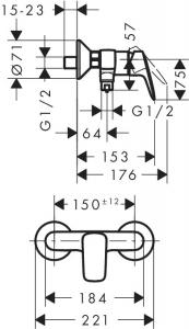 Baterie dus Hansgrohe Logis1