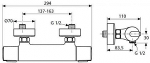 Baterie dus termostatata Ideal Standard Ceratherm 1001
