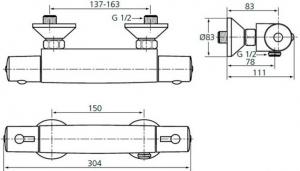 Baterie dus termostatata Ideal Standard Ceratherm 501