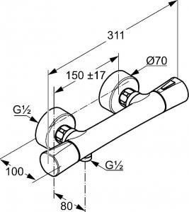 Baterie dus termostatata Kludi Zenta Negru [1]