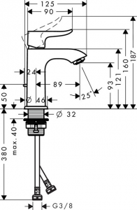 Baterie lavoar Hansgrohe Metris 100 cu ventil Pop UP [3]