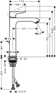 Baterie lavoar Hansgrohe Metris 200 cu ventil Pop UP - Pentru lavoare tip bol6