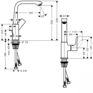 Baterie lavoar Hansgrohe Metris 230 cu ventil Pop UP5