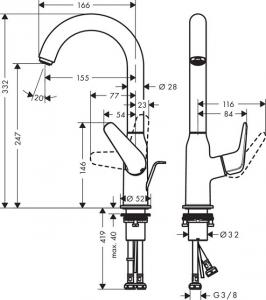 Baterie lavoar Hansgrohe Novus 240 cu ventil Pop UP2