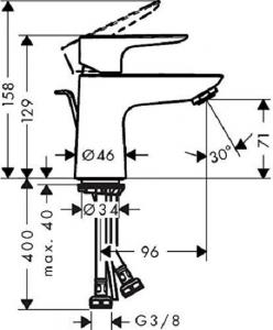 Baterie lavoar Hansgrohe Tales E 80 cu ventil Pop UP [3]