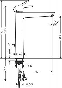 Baterie lavoar Hansgrohe Talis E 240 cu ventil Pop UP - Pentru lavoare tip bol3
