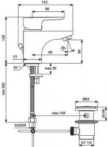 Baterie lavoar Ideal Standard Ceraplan III cu ventil Pop UP [1]