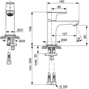 Baterie lavoar Ideal Standard Connect Air1