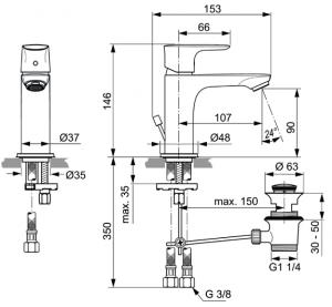 Baterie lavoar Ideal Standard Connect Air cu ventil Pop UP4