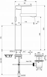 Baterie lavoar Ideal Standard Gio Vessel cu ventil Pop UP - Pentru lavoare tip bol2