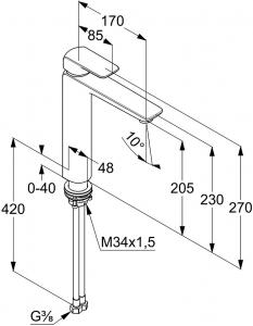 Baterie lavoar Kludi Ameo 205mm - Pentru lavoare tip bol1