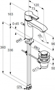 Baterie lavoar Kludi Lobo XL cu ventil Pop UP1