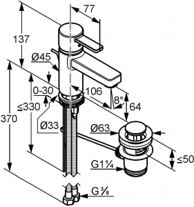 Baterie lavoar Kludi Zenta Alb cu ventil Pop UP1