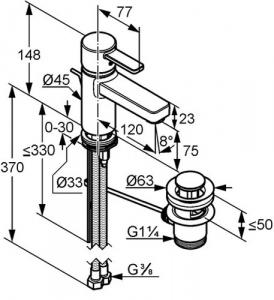 Baterie lavoar Kludi Zenta XL Alb cu ventil Pop UP2