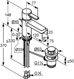 Baterie lavoar Kludi Zenta XL Negru cu ventil Pop UP1