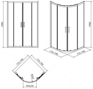 Cabina de dus Cersanit Arteco semirotund 80 x 80 [1]