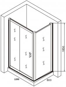 Cabina de dus dreptunghiulara Belform Clear 120x805