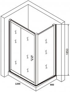 Cabina de dus dreptunghiulara Belform Clear 120x905