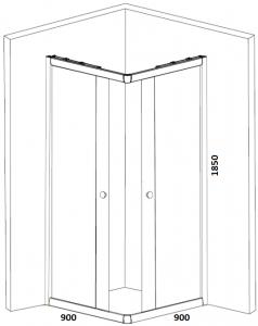 Cabina de dus patrata Belform Grid 90x904