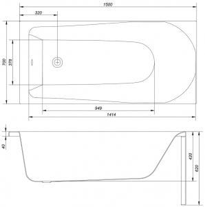 Cada Baie Acril Cersanit Flavia 150x706