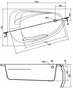 Cada Baie Acril Cersanit Joanna New 150x95 COLT STANGA [5]
