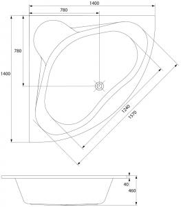 Cada Baie Acril Cersanit Venus 140x1405
