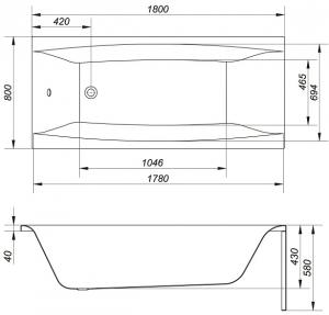 Cada Baie Acril Cersanit Virgo 180x8010