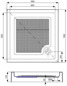 Cadita de dus patrata Belform Cubo 90x905
