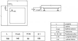 Cadita de dus patrata Fibrocom Mercur 70x703