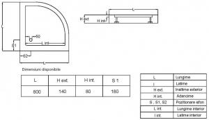 Cadita de dus semirotunda Fibrocom Marte 80x803