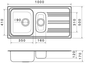 Chiuveta Bucatarie Dubla Inox Anticalcar 1000 x 500 - Model 41