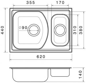 Chiuveta Bucatarie Dubla Inox Anticalcar 620 x 440 - Model 21