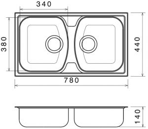 Chiuveta Bucatarie Dubla Inox Anticalcar 780 x 440 - Model 11