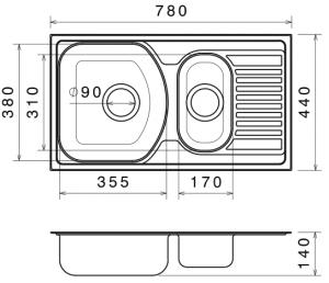 Chiuveta Bucatarie Dubla Inox Anticalcar 780 x 440 - Model 31