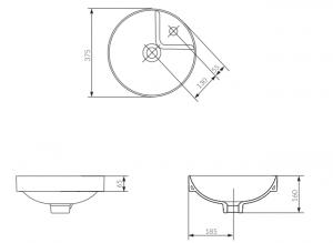 Lavoar Cersanit Crea 38 CM - pentru montaj semi-incastrat2