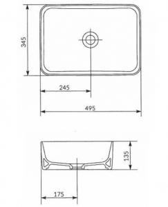 Lavoar Cersanit Crea 50 CM - pentru montaj pe blat3